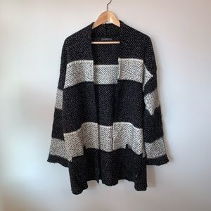 Cozy Striped Wool Blend Cardigan with Pockets